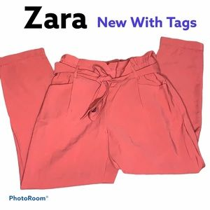 Zara TRF cropped trousers orange size medium